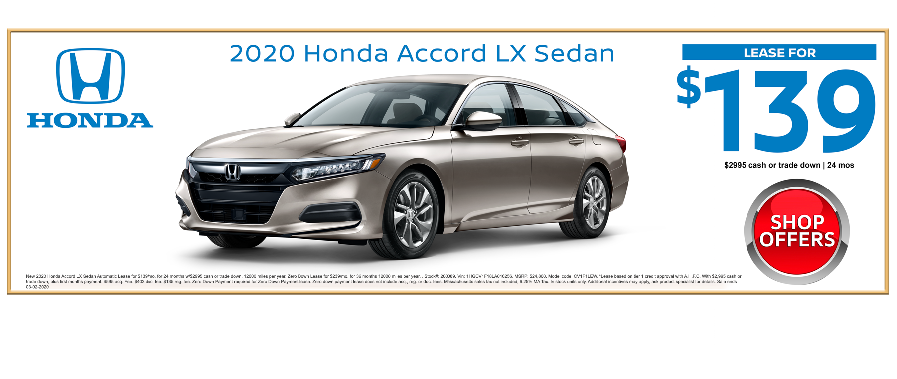 2020 Honda Accord LX Sedan February Lease Special at Kelly Honda in Lynn, MA
