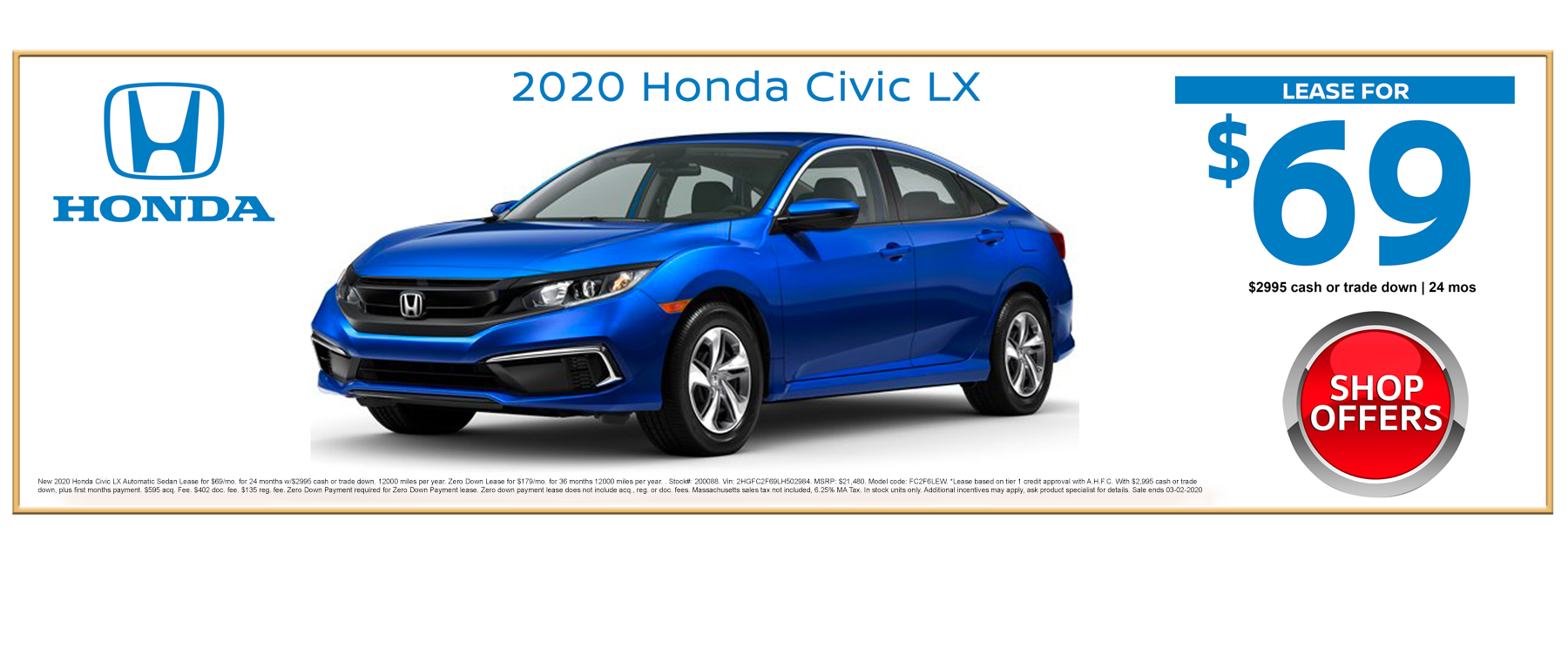 2020 Honda Civic LX Sedan February Lease Special at Kelly Honda