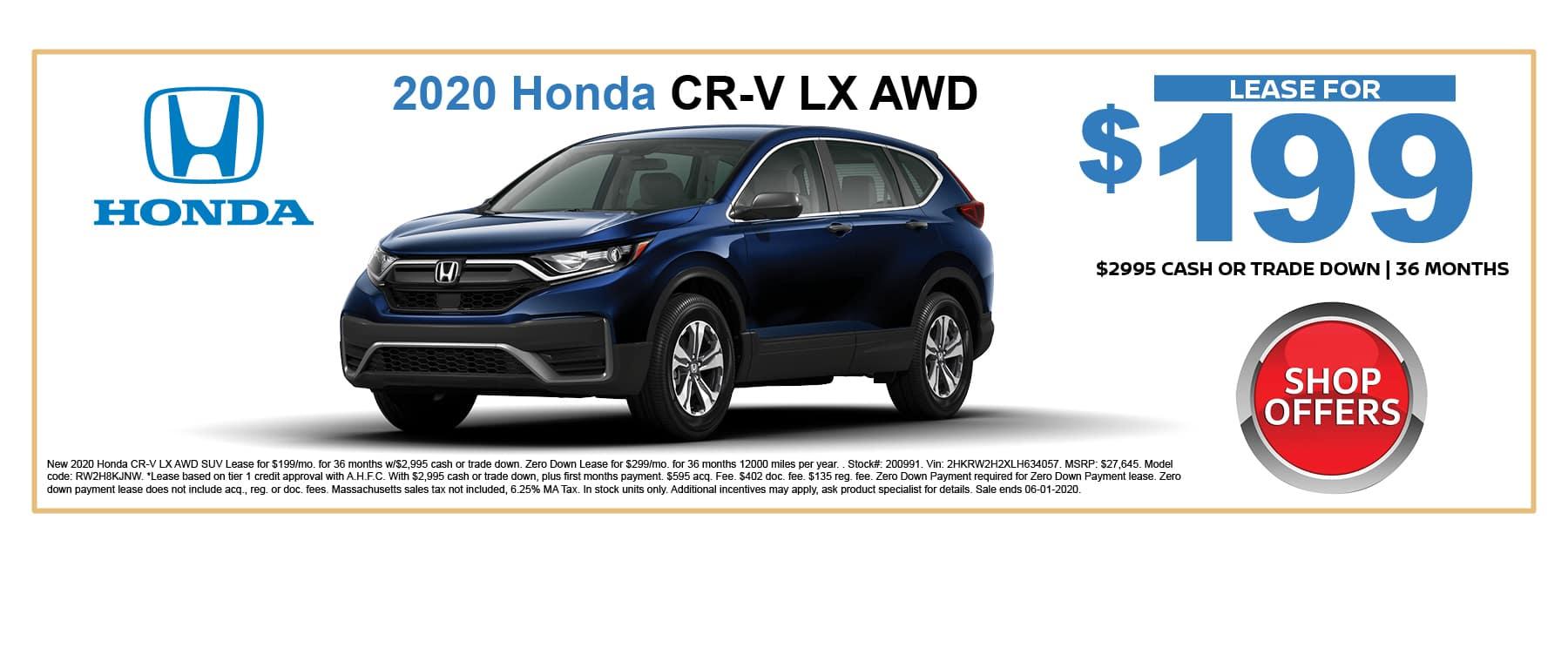 New Honda CR-V SUV Special in Massachusetts