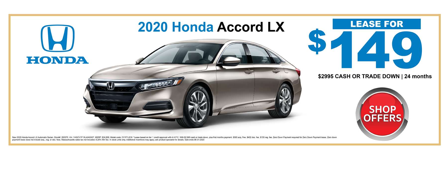 2020 Accord Lease Specials Massachusetts