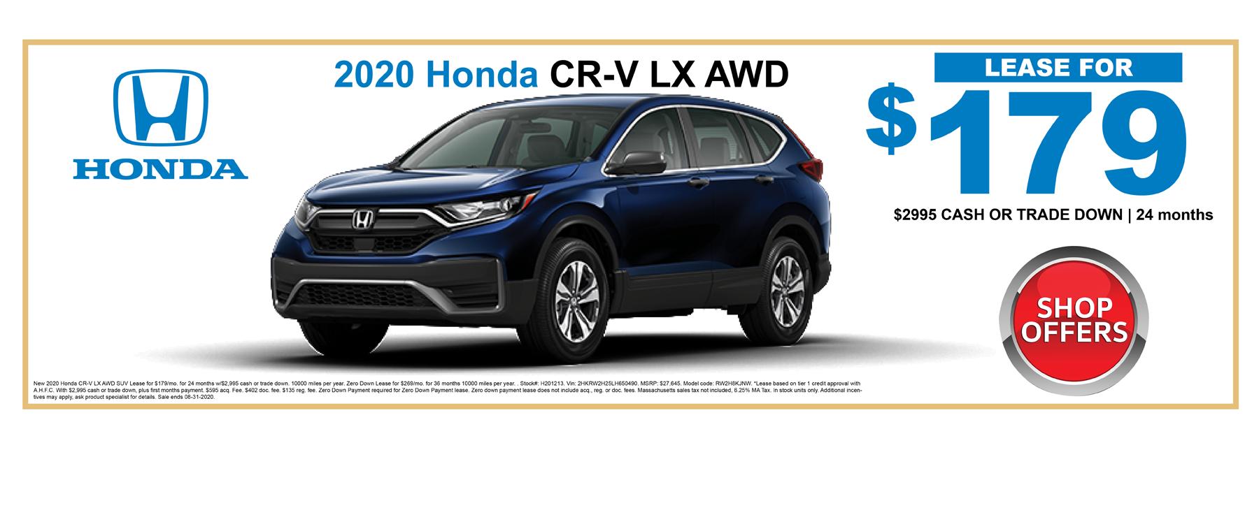 Shop New Honda CRV Lease Specials Boston MA