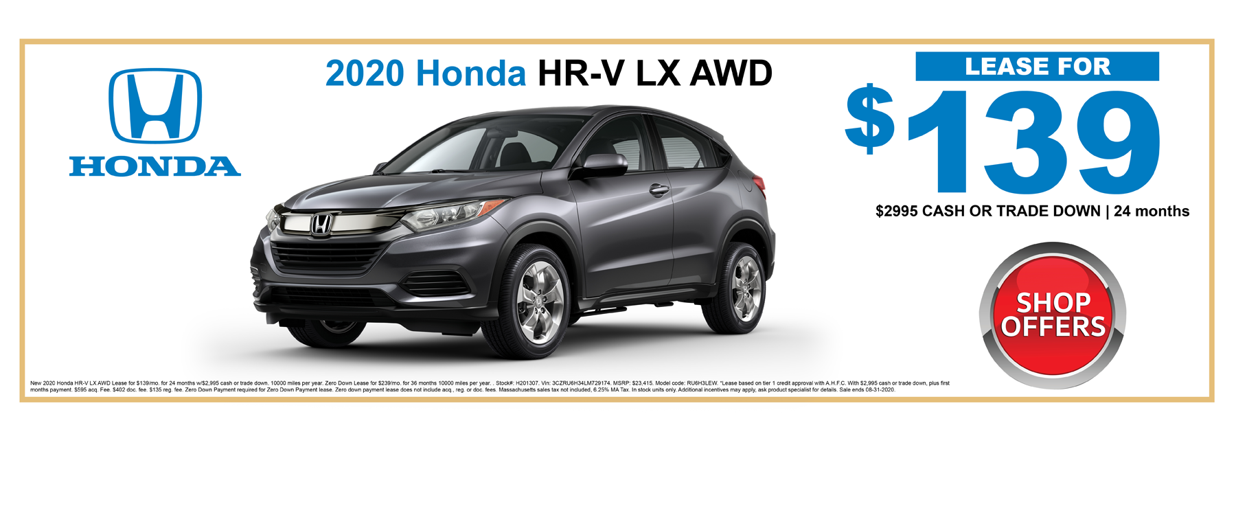New Honda HRV AWD Lease Specials Boston MA