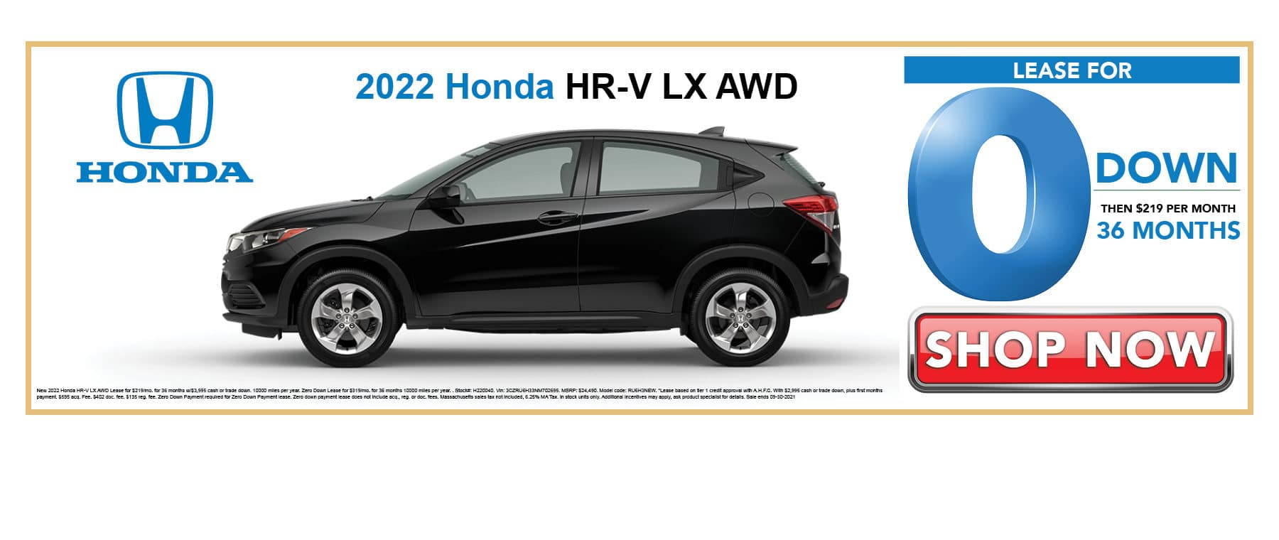 Lease 2022 Honda HR-V LX for 0 Down then $219 per Month for 36 Months