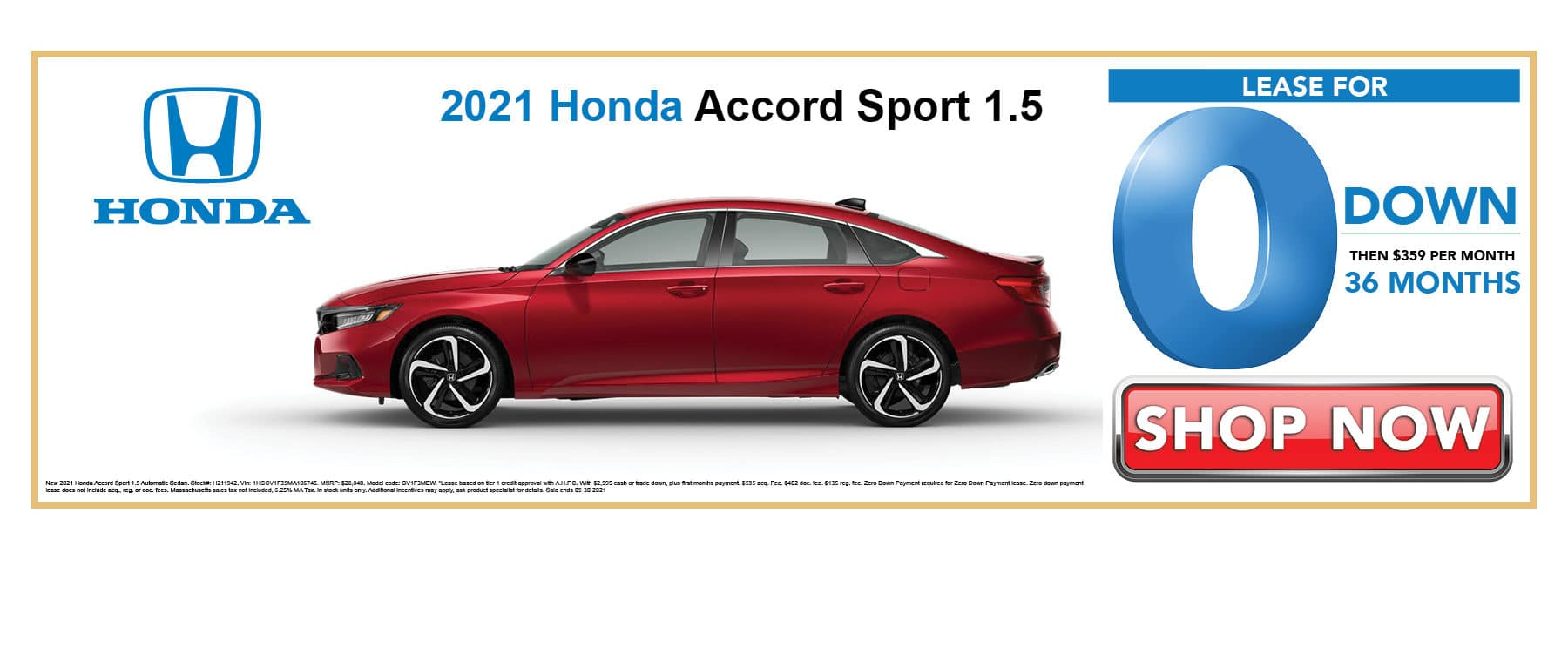 Lease 2021 Honda Accord Sport for 0 Down then $359 per Month for 36 Months