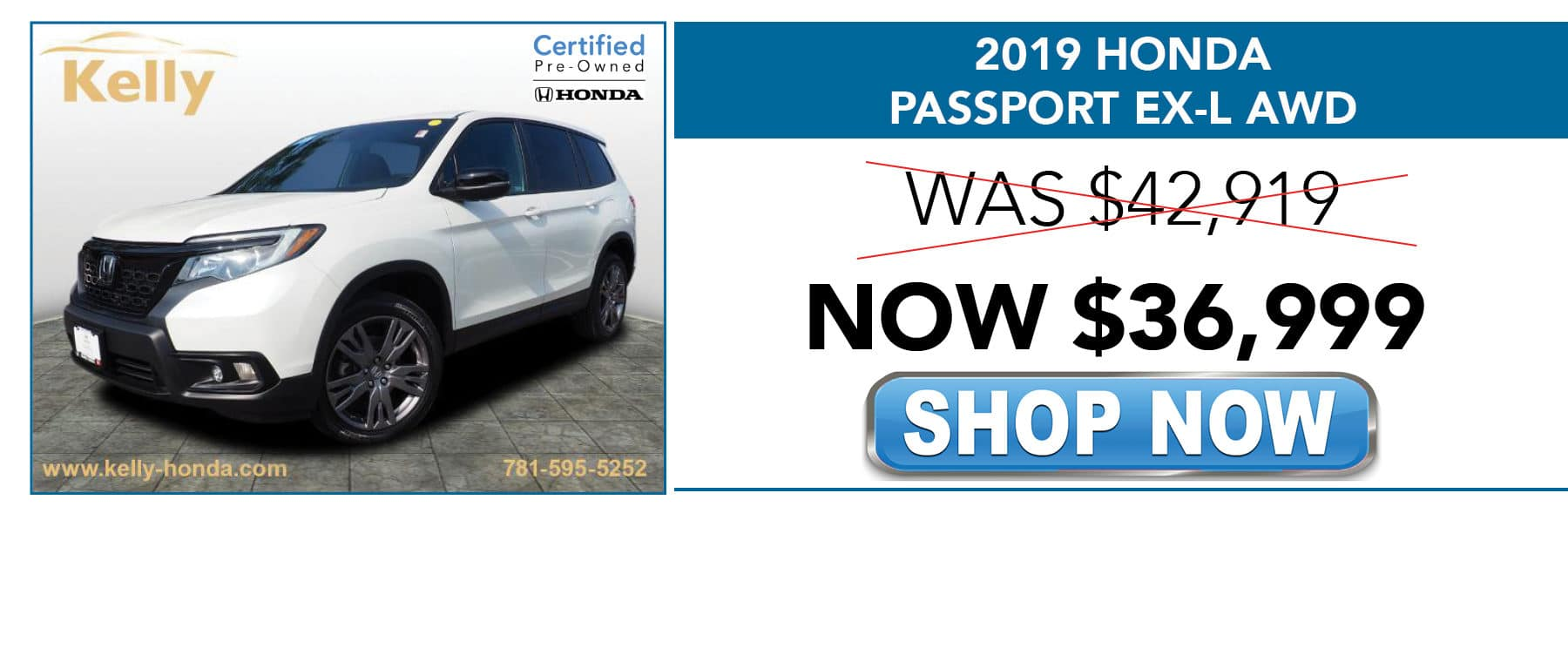 2019 Honda Passport EX-L SUV Now $36,999