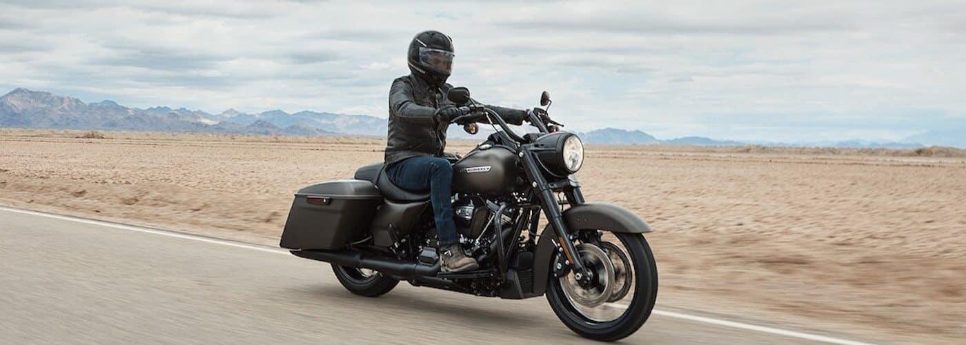 Man Driving Harley in Desert