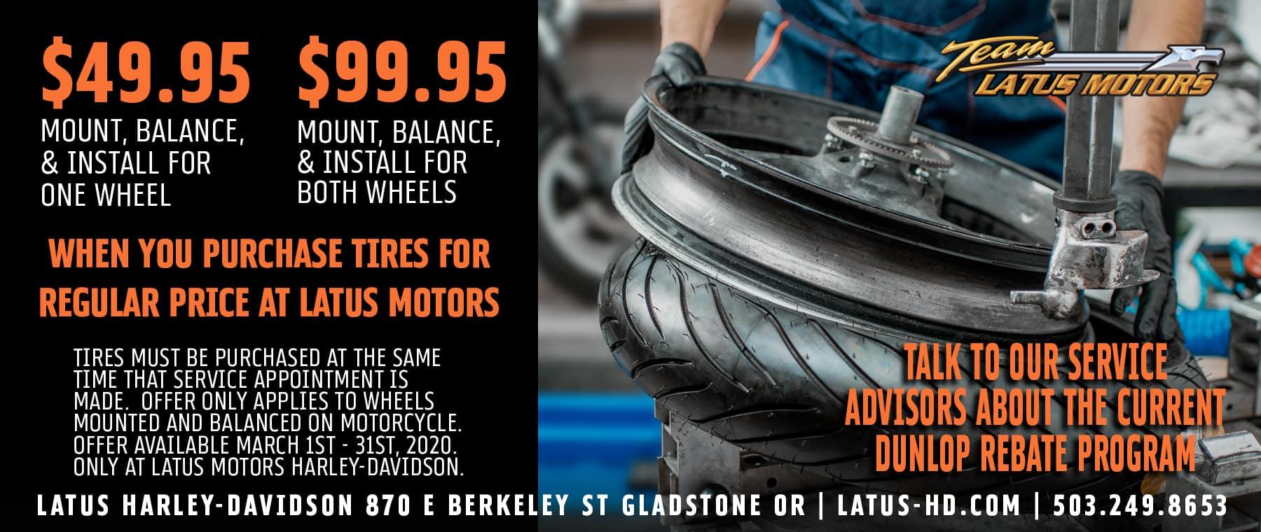 Latus Motors Tire Installation Special