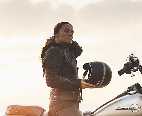 Woman Holding Harley Motorcycle Helmet