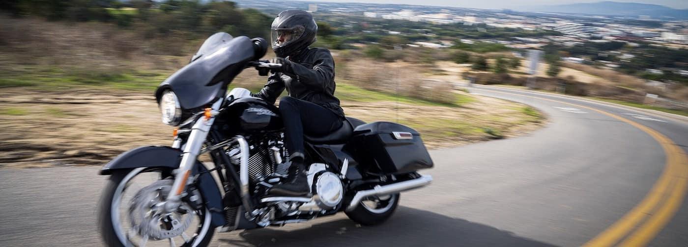 Harley Davidson Street Glide Turning on a Curve