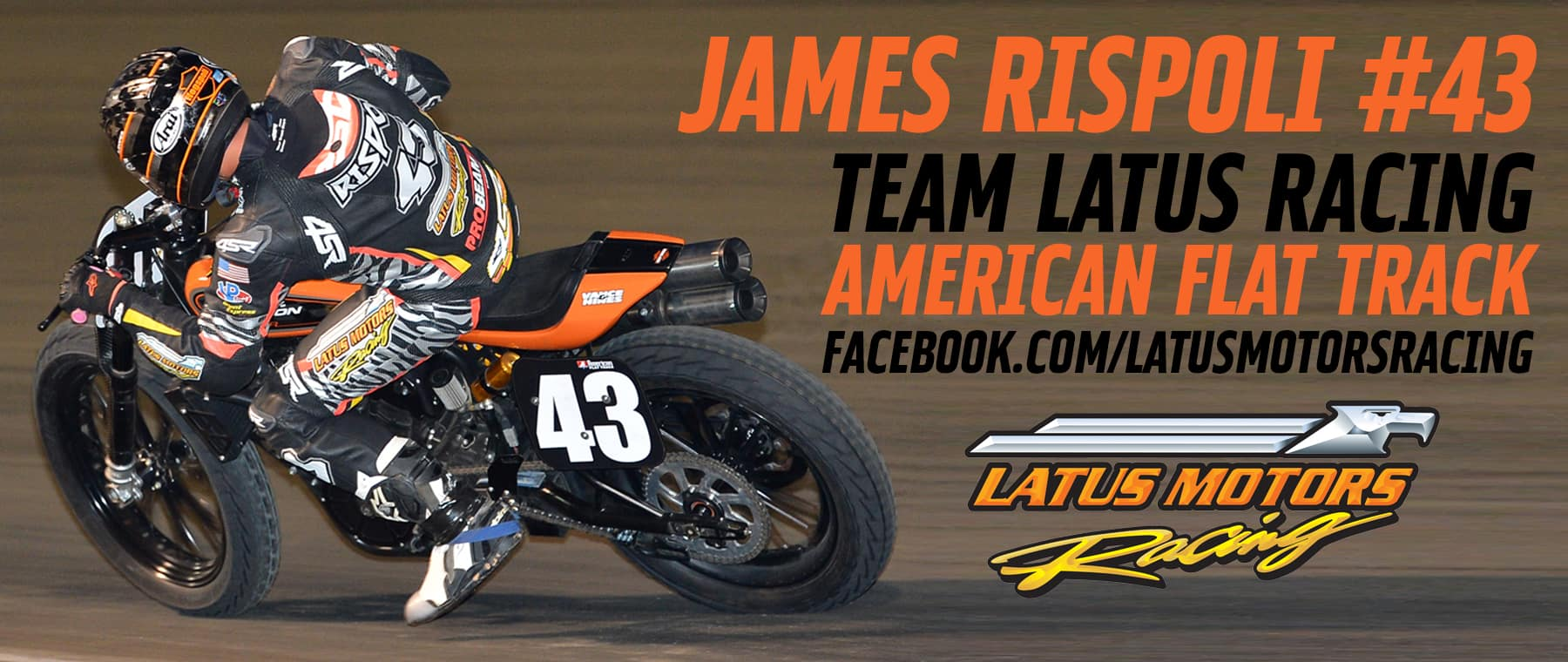 Rider James Rispoli on the Latus Motors Racing Flat Track machine