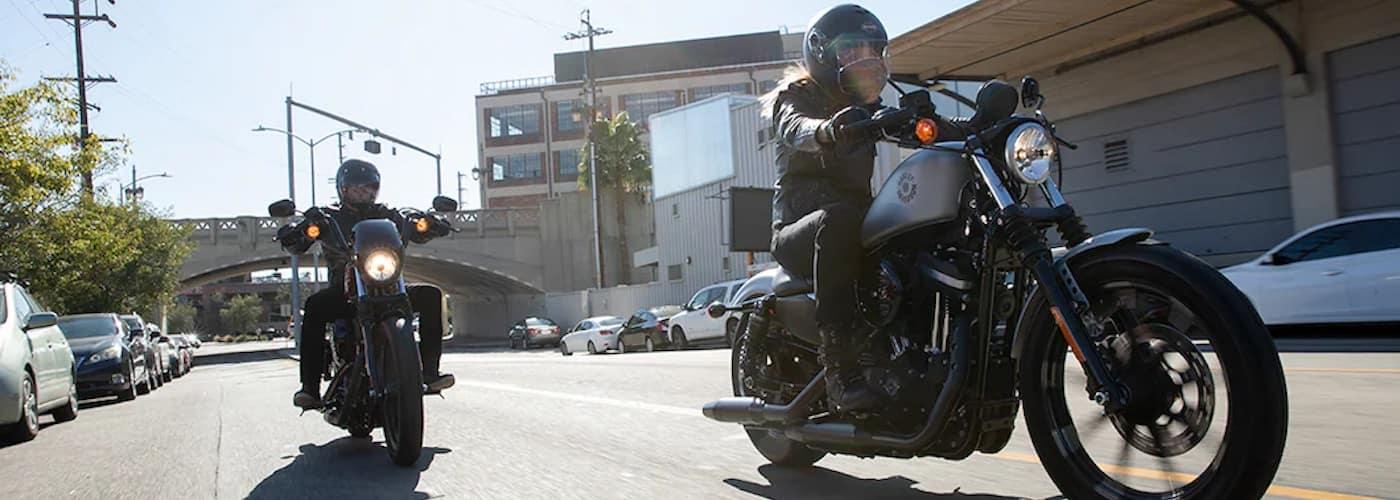 Harley-Davidson Sportster Bikes on City Street