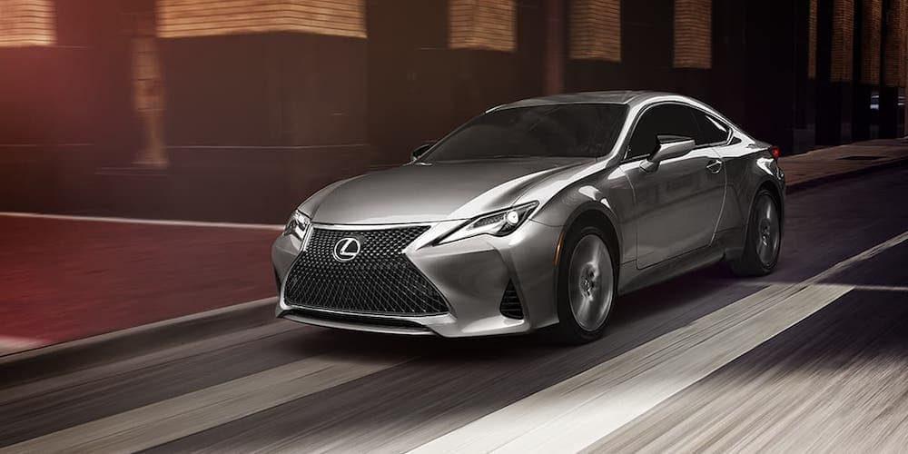 Silver 2020 Lexus RC on City Street