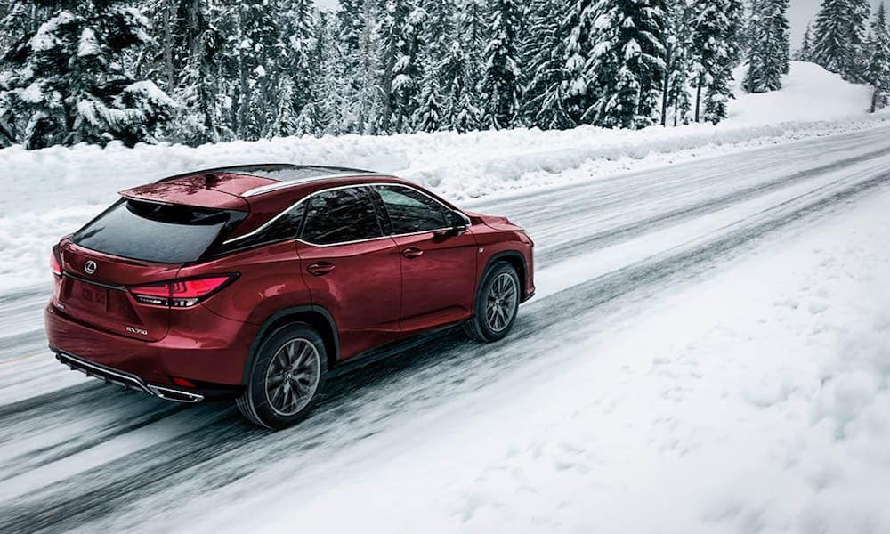 2020 Red Lexus RX on Snow