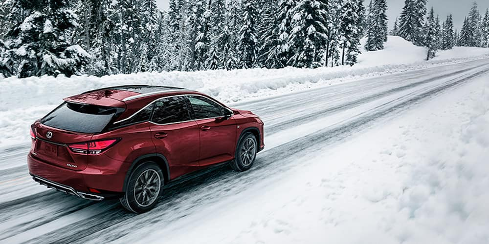Red 2020 Lexus RX 350 on Snowy Road