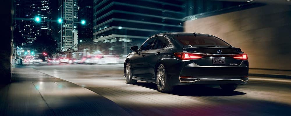 Black 2020 Lexus ES Hybrid on City Street