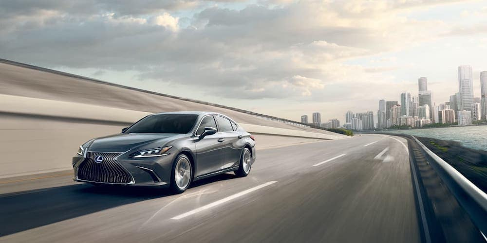 Silver 2020 Lexus ES Hybrid on Highway