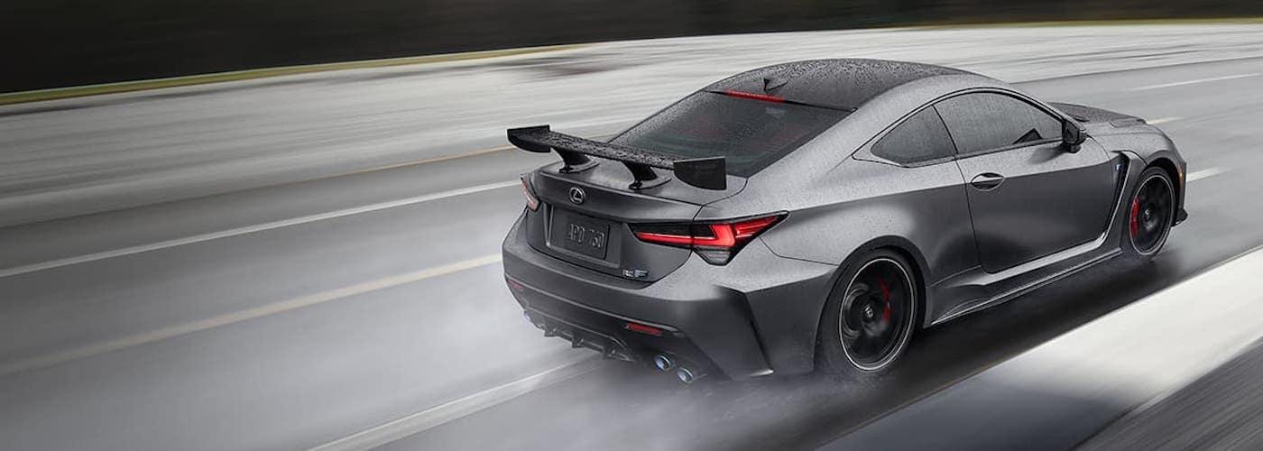 Gray Lexus RCF on Racetrack