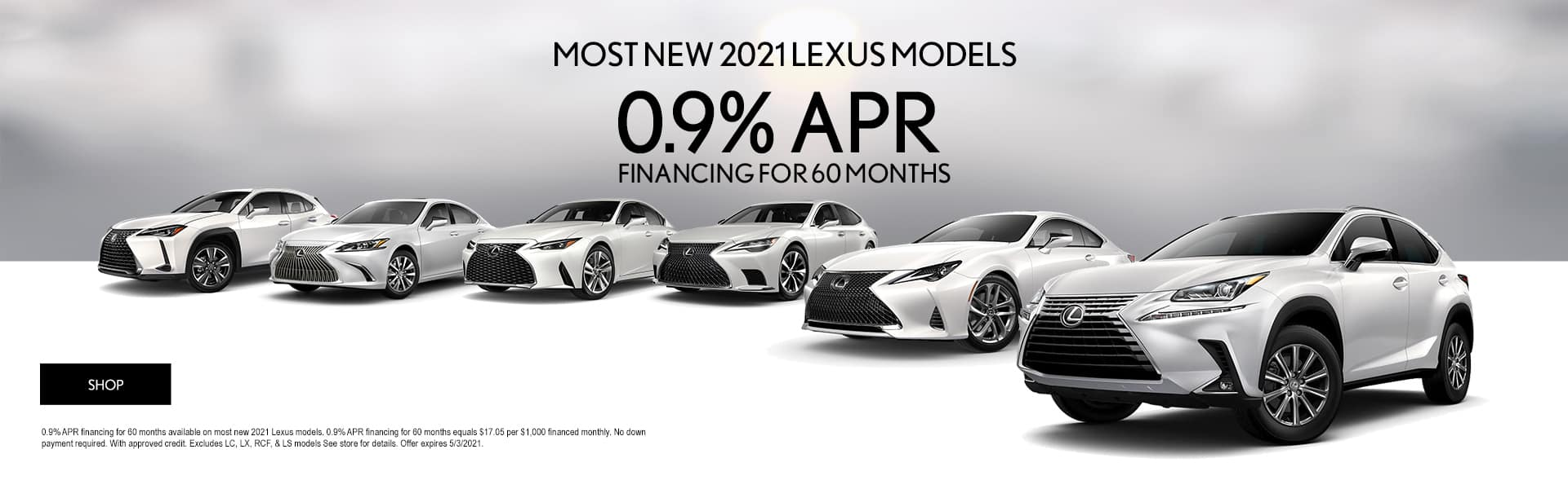0% APR for 60 months on select 2021 models