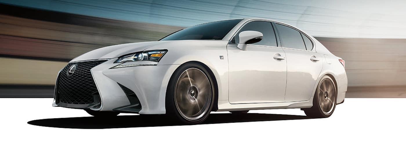 White 2020 Lexus GS F Sport on Track