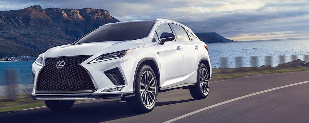 White 2020 Lexus RX on Highway Corner