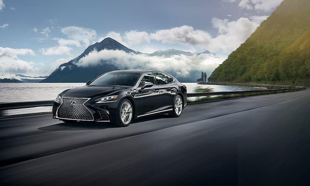 Black 2020 Lexus LS on Open Highway