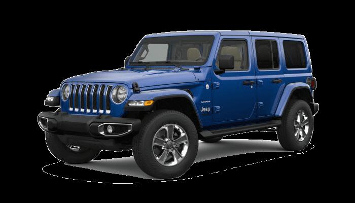 A blue 2019 Jeep Wrangler