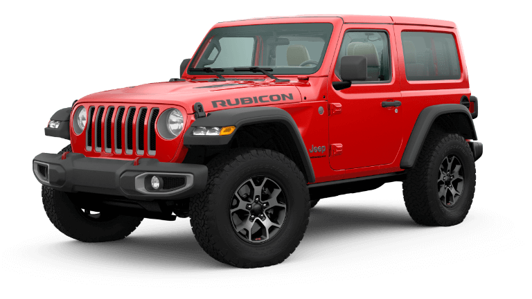 A red 2020 Jeep Wrangler Rubicon
