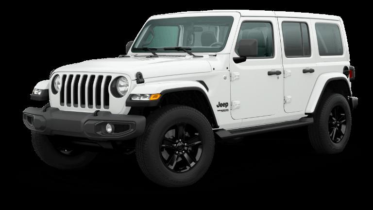 A white 2020 Jeep Wrangler Sahara Altitude