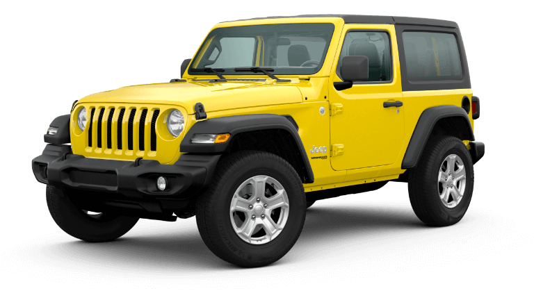 A yellow 2020 Jeep Wrangler Sport S