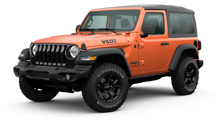 An orange 2020 Jeep Wrangler Willys