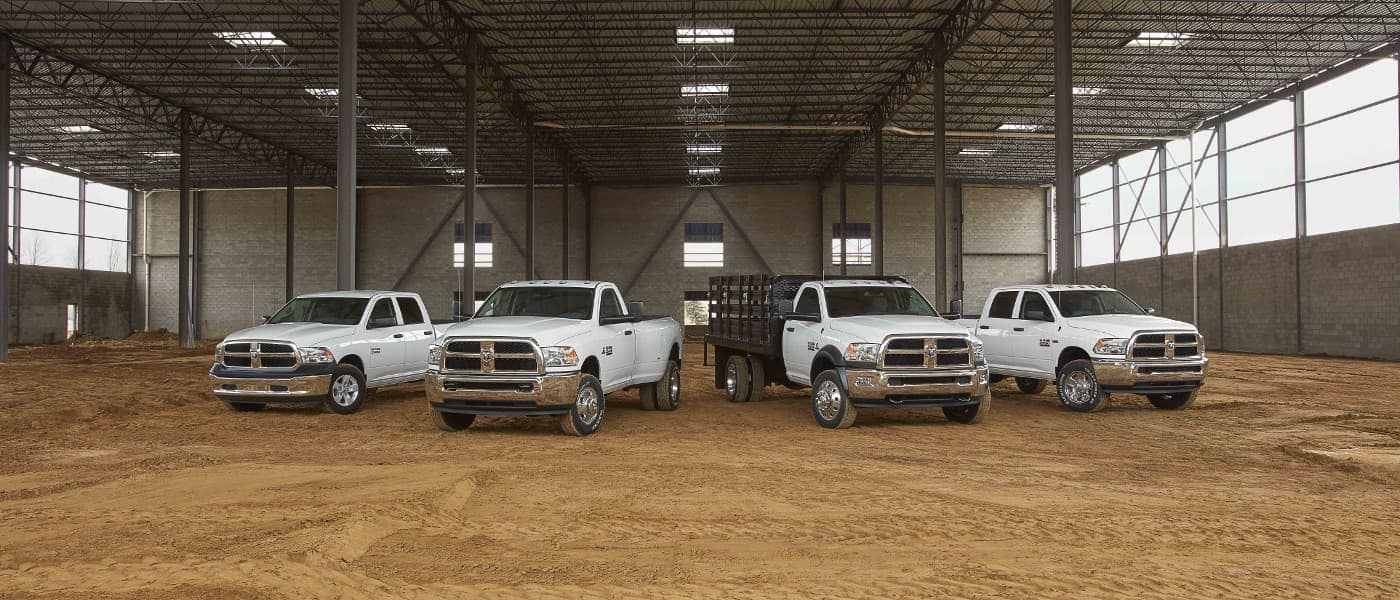 Ram Commercial Vehicles lined up in a shed