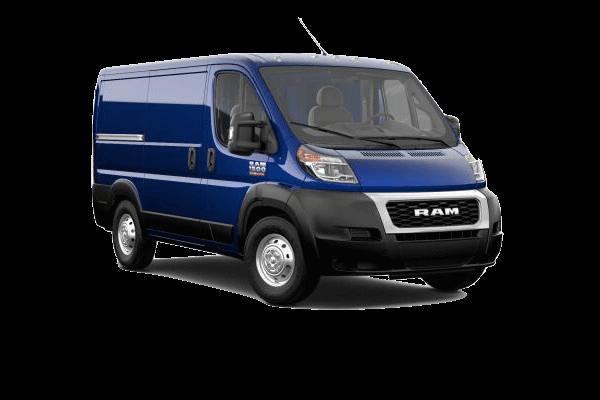 A blue 2020 Ram ProMaster 1500 Cargo Van