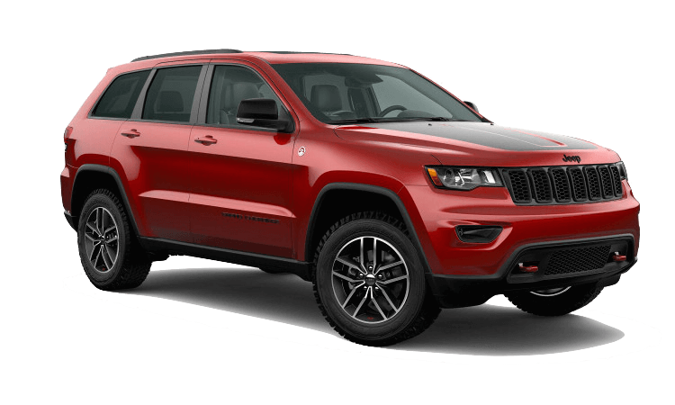 A red 2020 Jeep Grand Cherokee Trailhawk