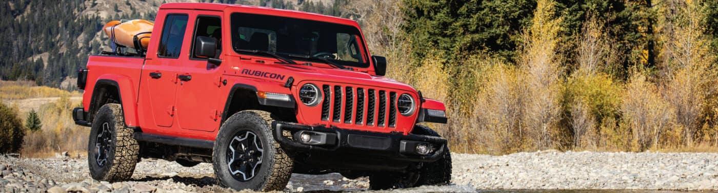 A red 2020 Jeep Wrangler Rubicon