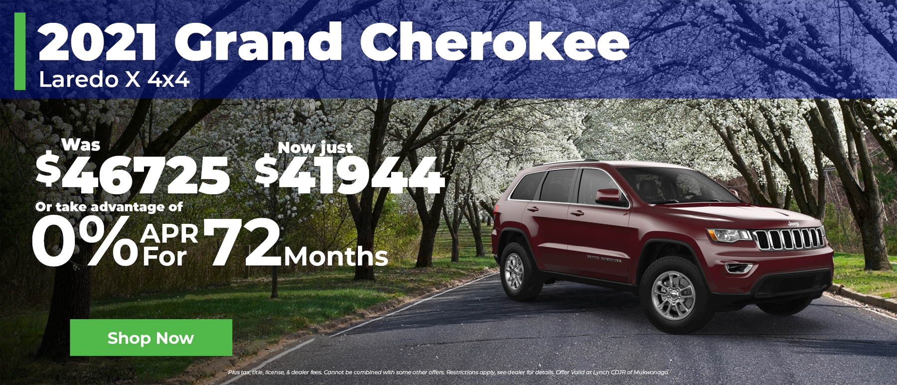 0% Financing for 72 Months on 2021 Jeep Grand Cherokee in Mukwonago WI
