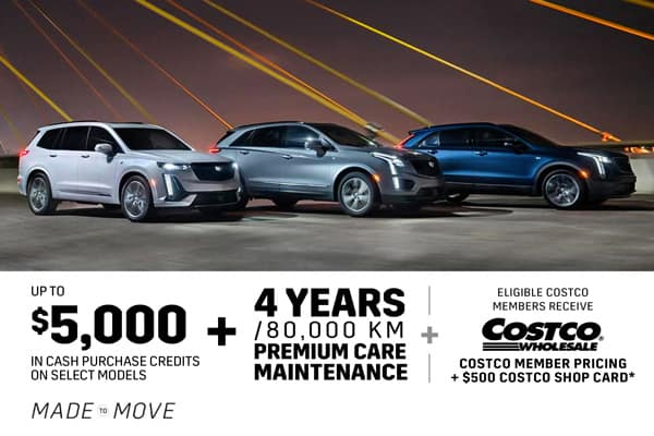 Up To $5,000 in cash purchase credits on select models + 4 years/80,000 KM premium care maintenance