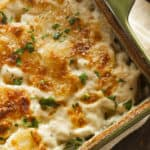 Cheesy Scalloped Potatoes fresh out of the oven