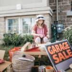 Kids helping with garage sale