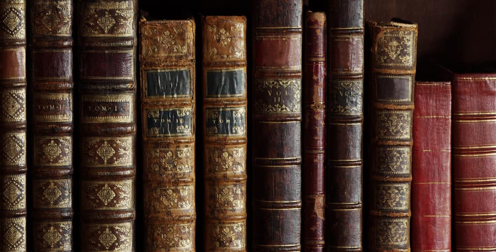 isolated image of old book covers, vintage book bindings, spines