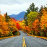Autumn road in the mountains