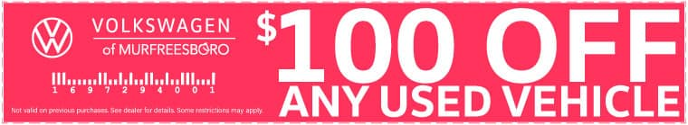 $100 off any used vehicle