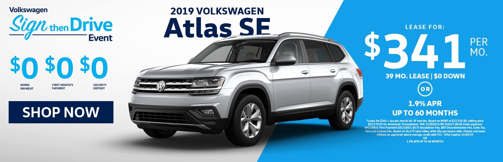 VW Atlas SE lease offer near me in glendale and los angeles