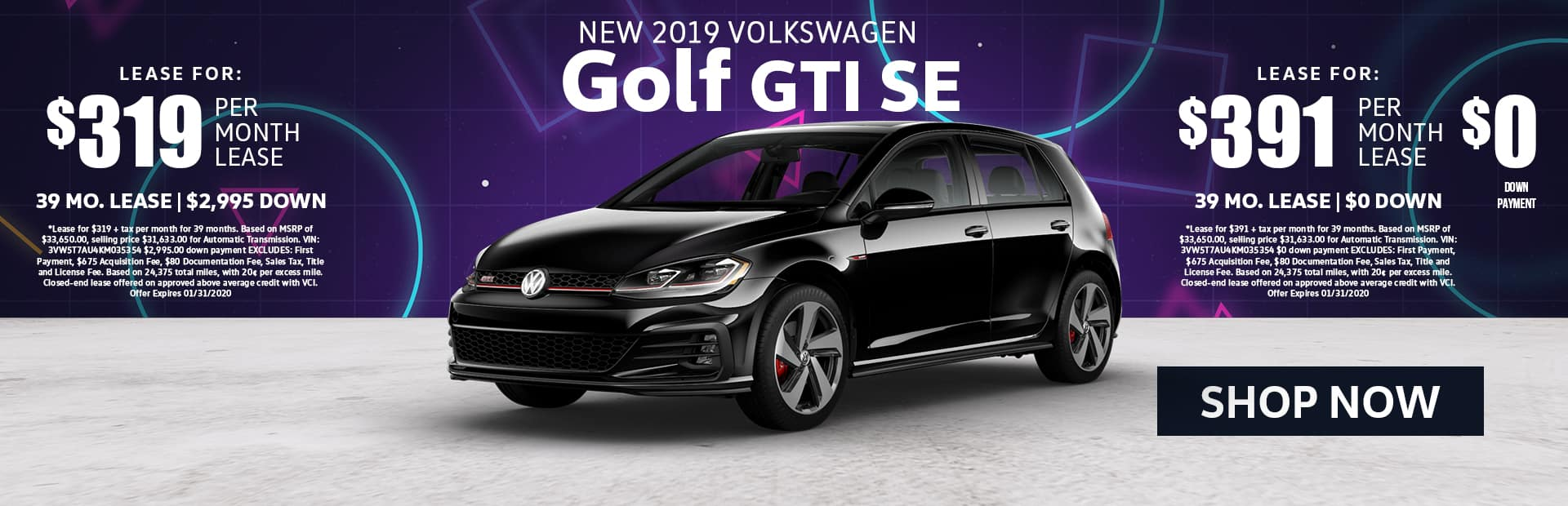 2019 Golf GTI SE Lease Special