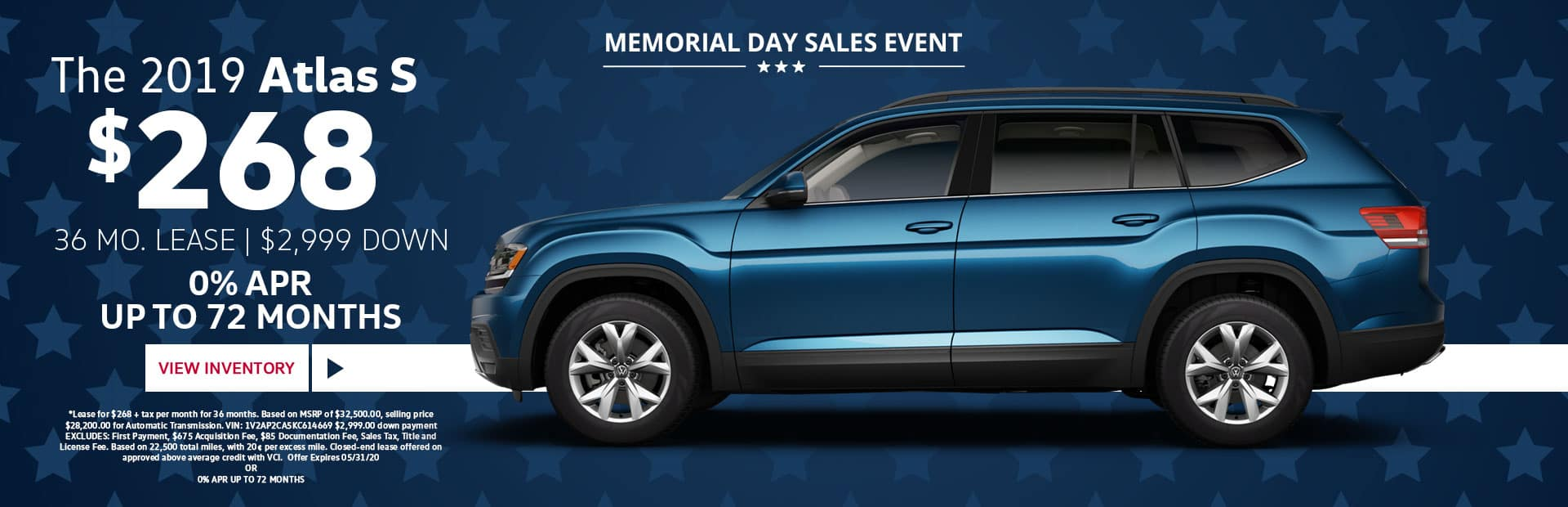 2020 vw atlas s special memorial day lease special