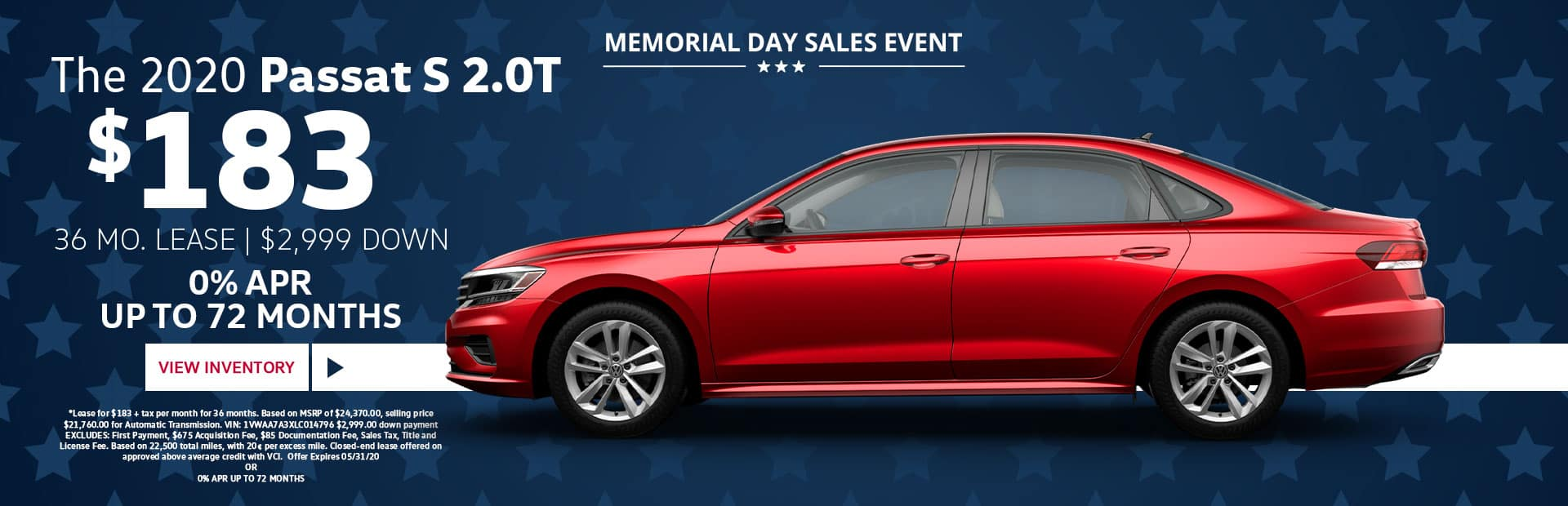 2020 vw passat s memorial day lease special
