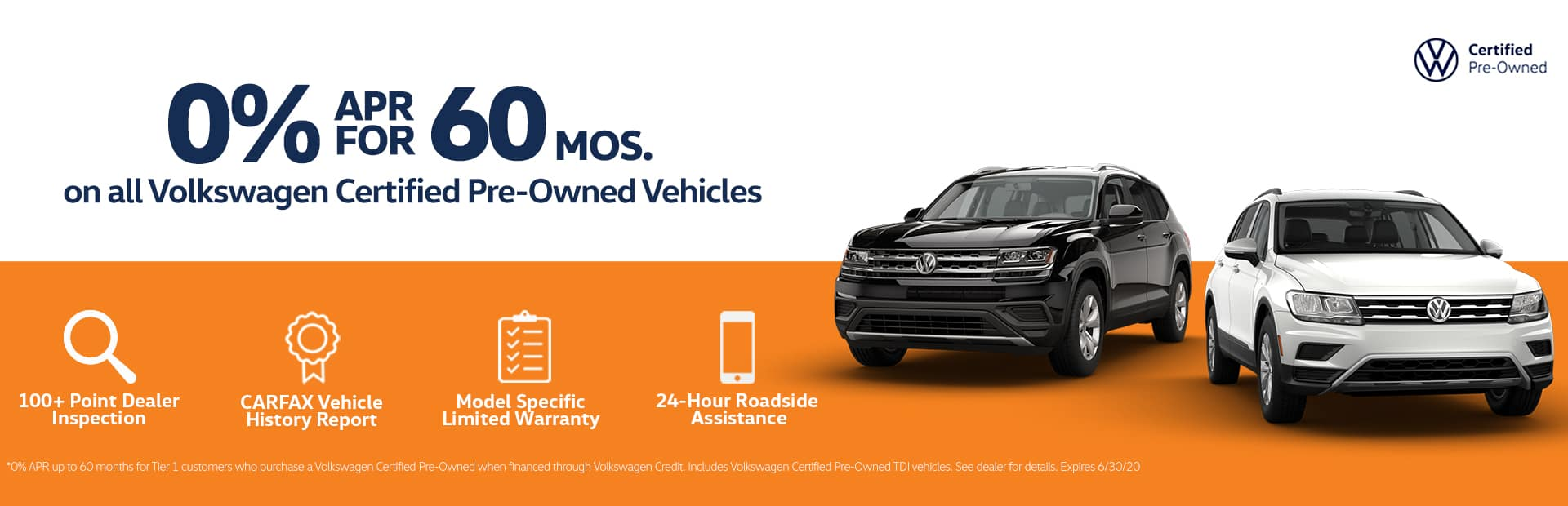 Volkswagen Certified Pre-Owned vehicles 0% APR for 60 Month