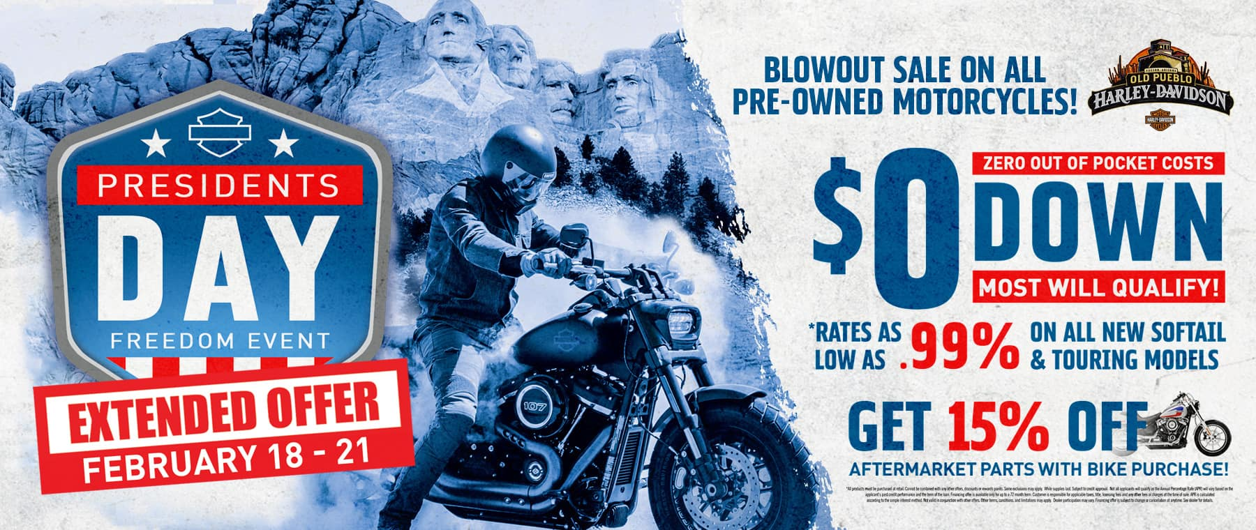 All of the great offers from President's Day are extended through February 21! Test rides availabel on ALL pre-owned motorcycles! Don't miss out!