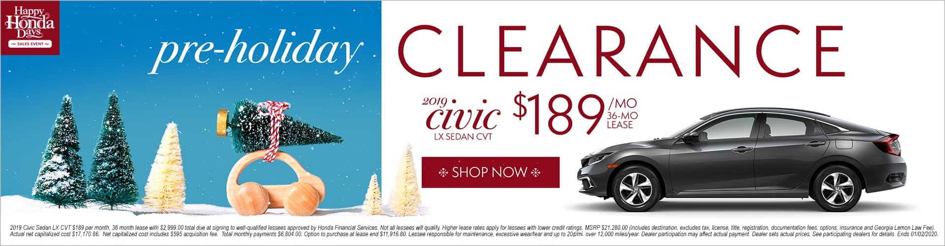 Happy Honda Days Honda Civic Pre Holiday Clearance Lease LX Sedan Phil Hughes Honda Athens GA