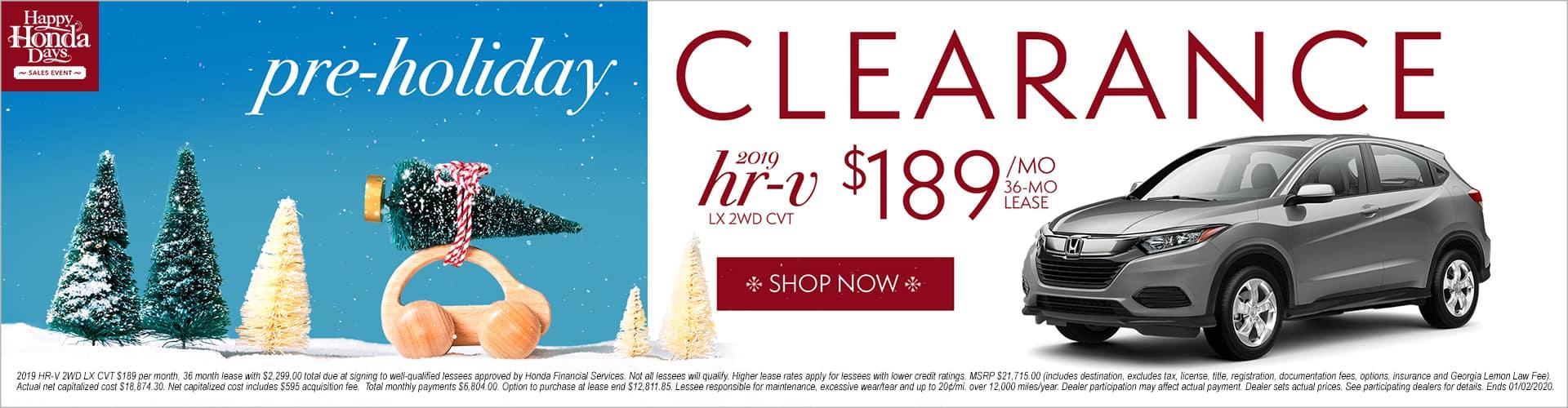Happy Honda Days Honda HR-V HRV Pre Holiday Clearance Lease LX 2WD Phil Hughes Honda Athens GA