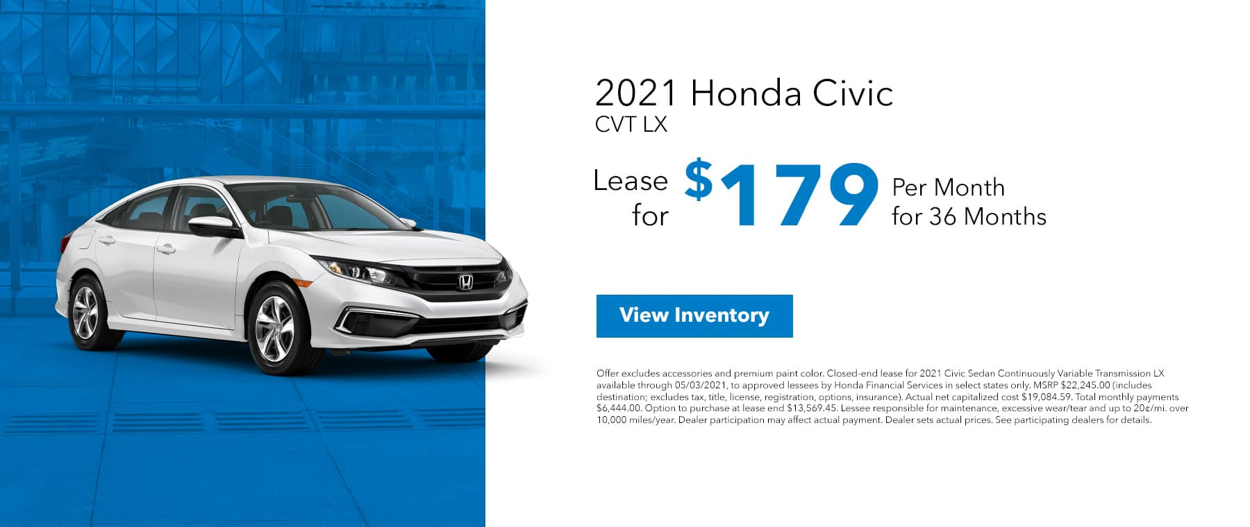 New 2021 Honda Civic, Lease for $179/mo for 36 months